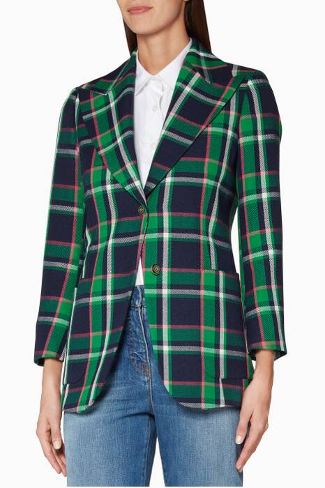 Green Tartan Checked Wool Embellished Jacket