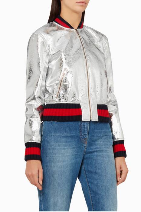 Silver Metallic Crackled Leather Bomber Jacket