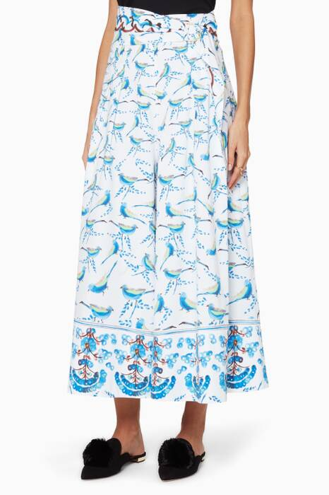 White Printed Wide-Leg Culottes