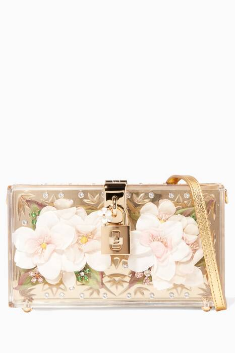 Gold Floral Plexiglass & Leather Dolce Box Clutch Bag