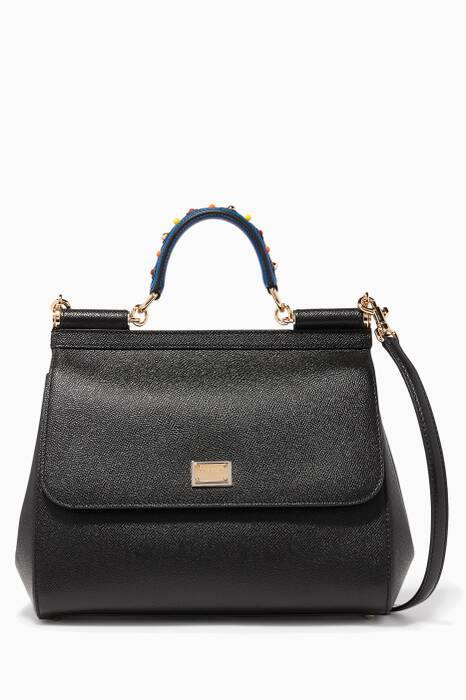 Black Sicily Dauphine Leather Embellished Top Handle Bag