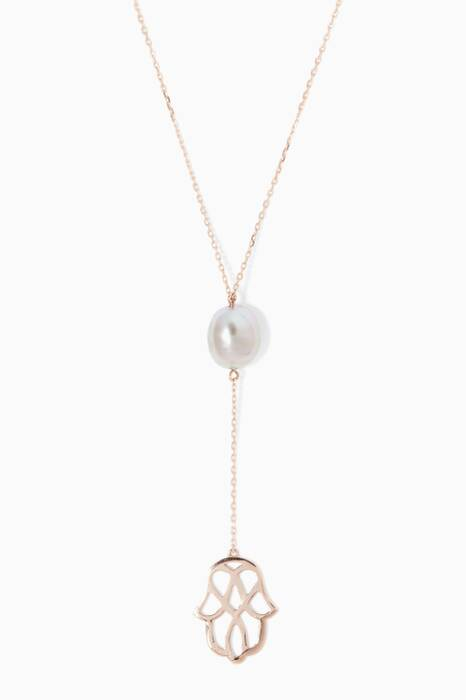 Rose-Gold Kesha Pearl & Hamsa Charm Necklace
