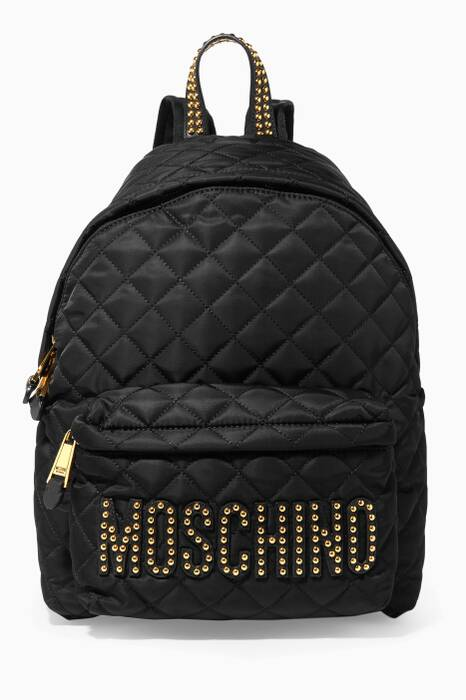 Black Large Quilted Backpack