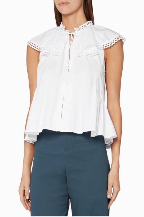 White Cirque Cotton Blouse