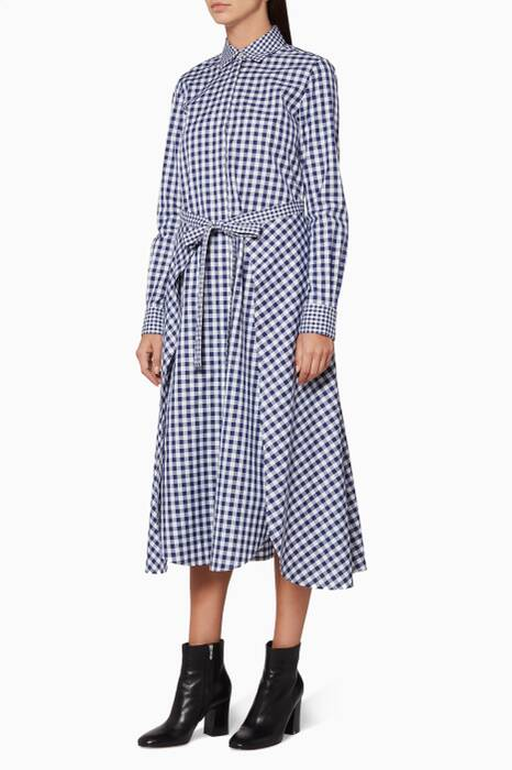 Navy & White Checked Apron Shirtdress