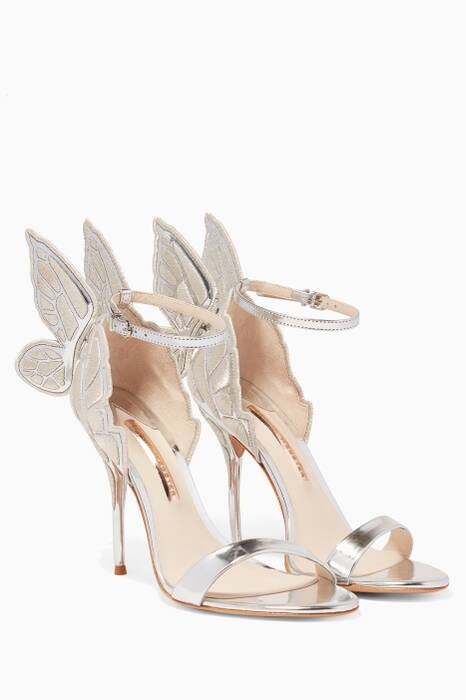 Silver Metallic Chiara Embroidered Butterfly Sandals