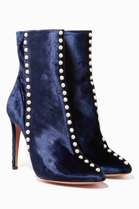 Navy Follie Velvet Pearl Booties
