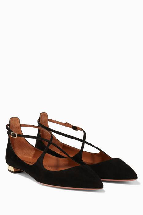Black Suede Christie Ballerinas