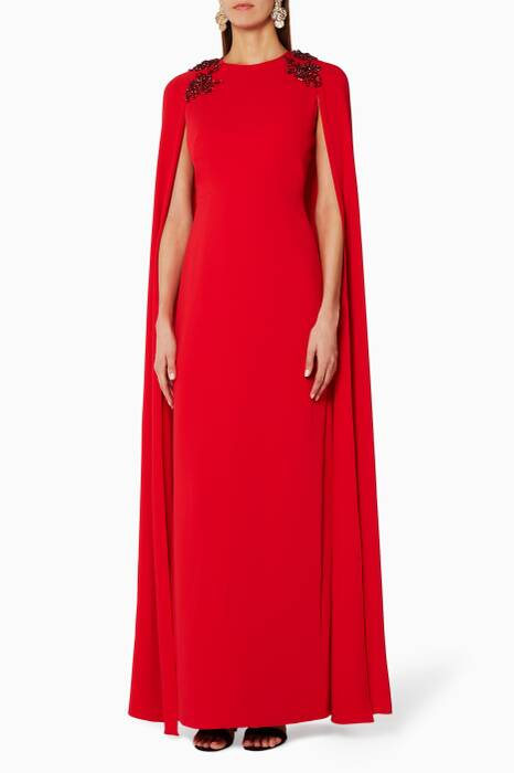 Red Embellished Shoulder Cape Gown