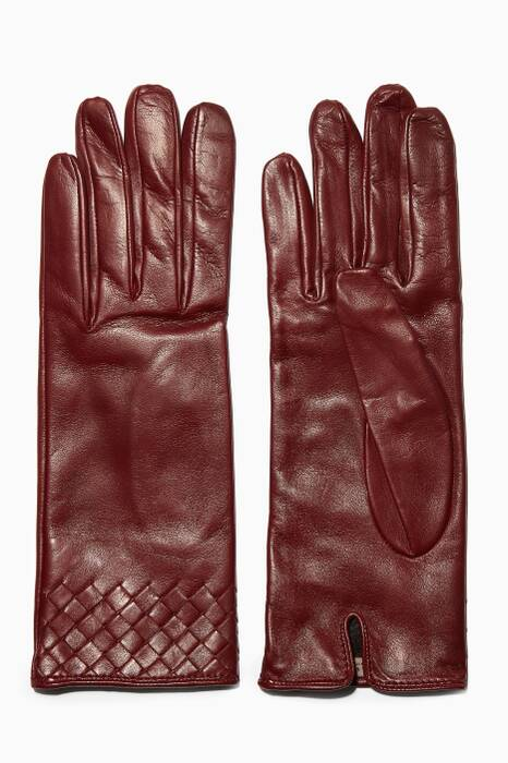 Dark-Red Intrecciato Short Leather Gloves