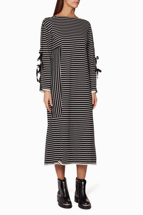 Monochrome Striped Midi Dress