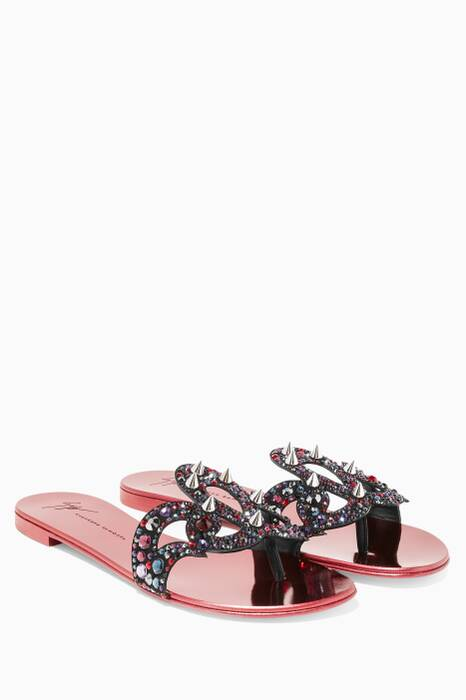 Dark-red Metallic Gold Crystal & Studded Sandals
