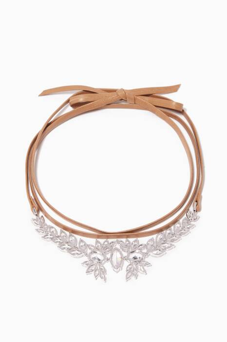 Camel Monarch Leather Wrap Choker