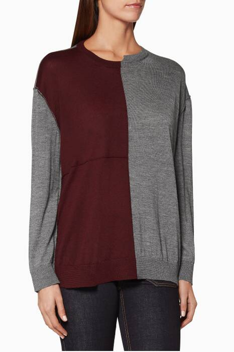 Dark-Red Asymmetric Bi-Colour Sweater