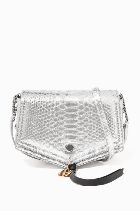 Silver Metallic Arrow Python Shoulder Bag