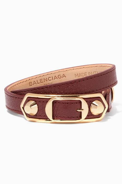 Dark-Red Metallic Edge Leather Bracelet