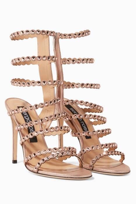 Rose-Gold Crystal Studded Kimberley Sandals
