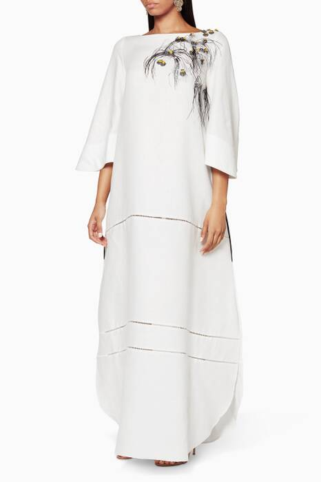 White Abaya with Eyelet Stripes