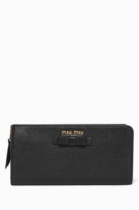 Black Bow-Detail Zip-Around Wallet