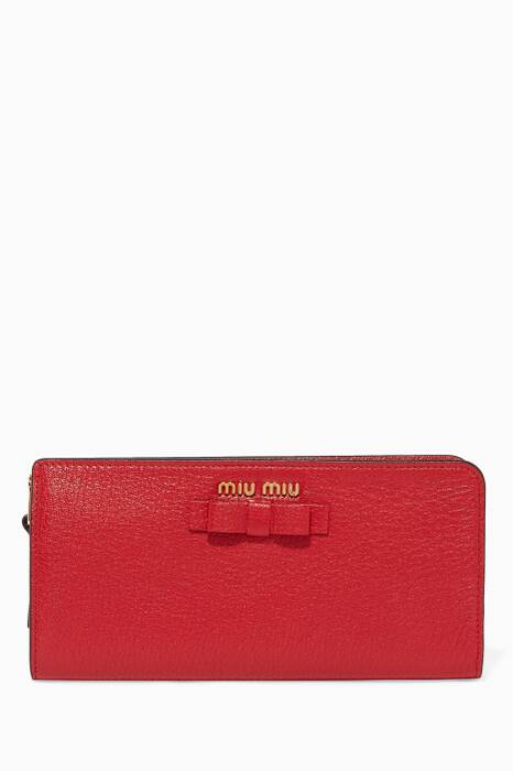 Red Bow-Detail Zip-Around Wallet