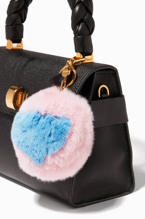 Pink Rabbit-Fur Pompom Bag Charm