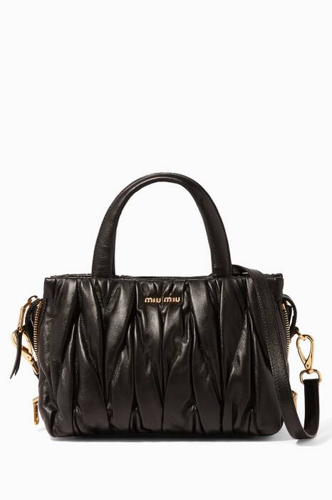 Black Small Matelassé-Leather Top-Handle Bag