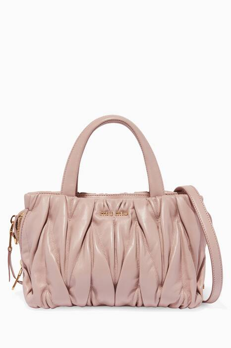 Pastel-Pink Small Matelassé-Leather Top-Handle Bag