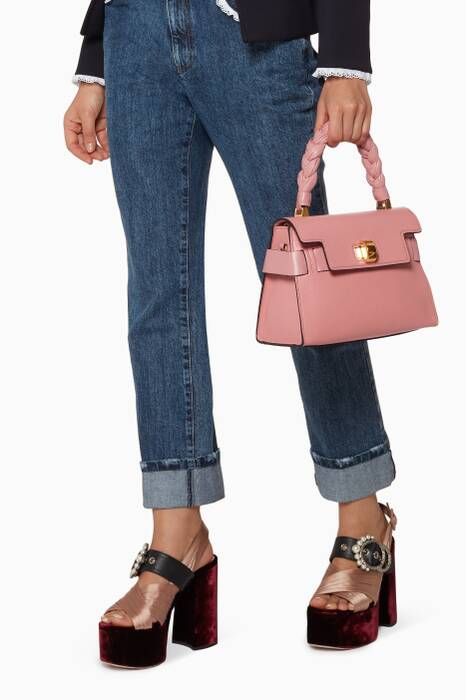 Pink Click Braided Top Handle Bag