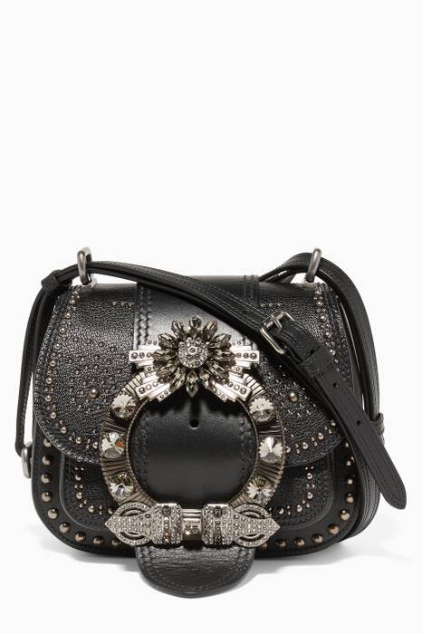 Black Dahlia Crystal Embellished Cross-Body Bag