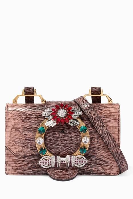 Orchid Crystal-Embellished Miulady Cross-Body Bag