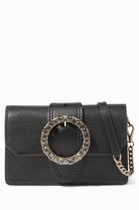 Black Madras Embellished Cross-Body Bag