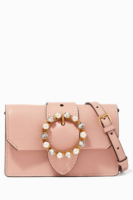Blush Madras Embellished Cross-Body Bag