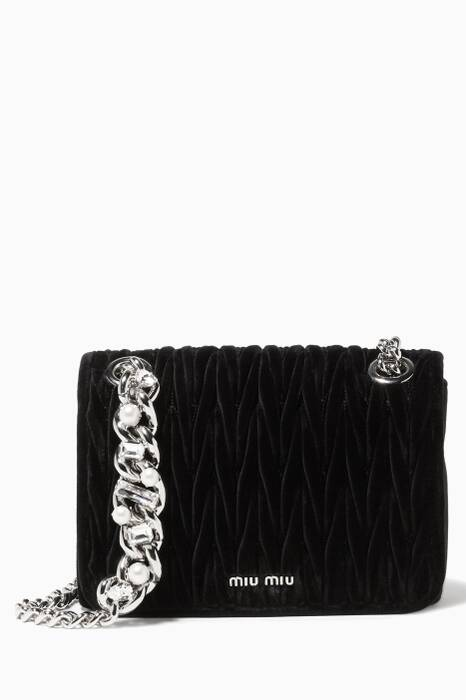 Black Velvet Matelassé Club Chain Shoulder Bag