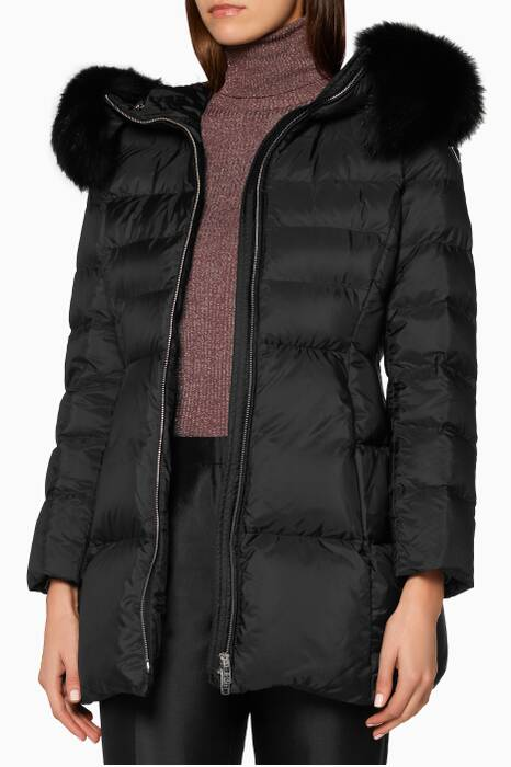 Black Fur Trimmed Quilted Shell Coat