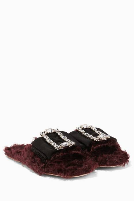 Dark-Red Louis 14th Embellished Buckle Sandals