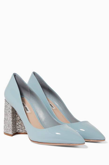 Pastel-Blue Glittered Patent-Leather Pumps