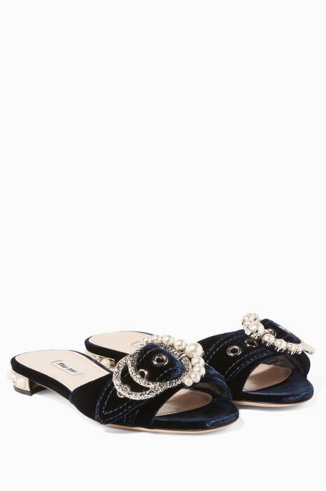 Navy Embellished Velvet Slides