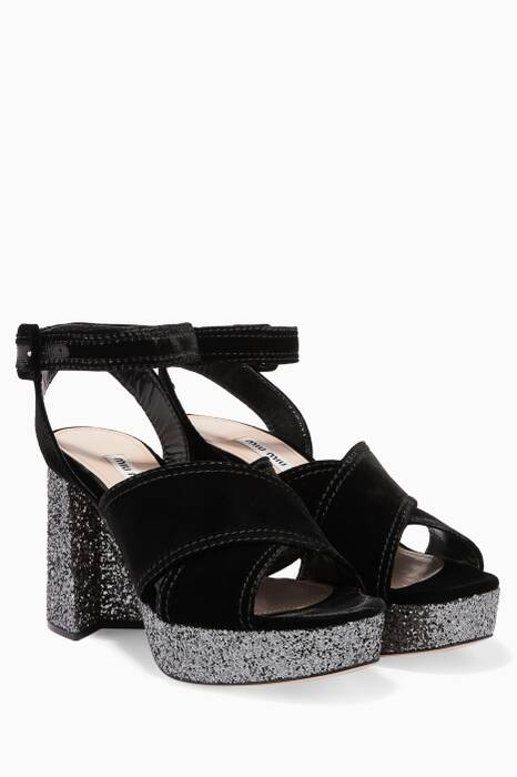 Black Criss-Cross Velvet Platform Sandals
