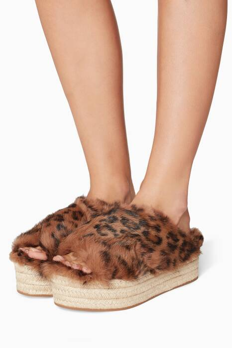 Multi-Coloured Lapin Leopard-Print Espadrille Flatforms