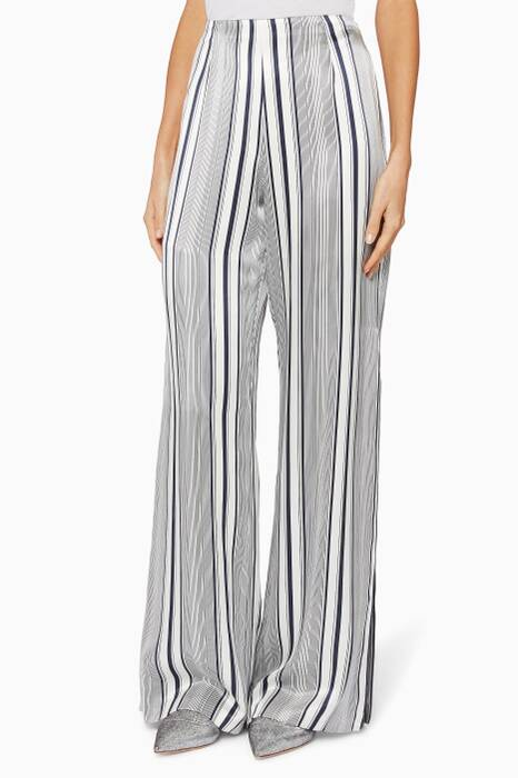 Midnight-Blue Linear-Striped Pants