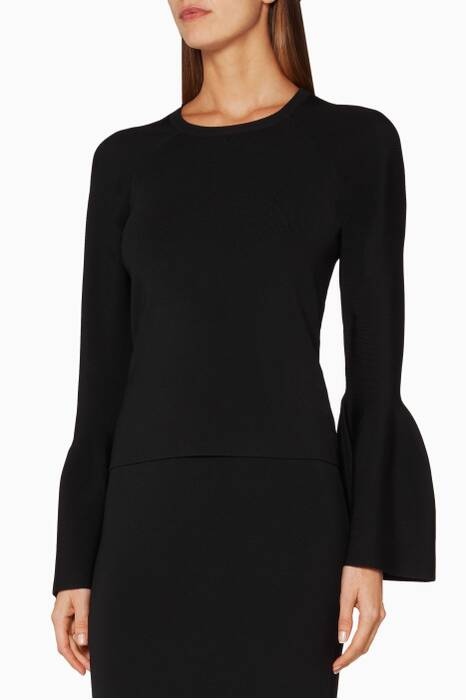 Black Signature Knitted Bell-Sleeve Sweater