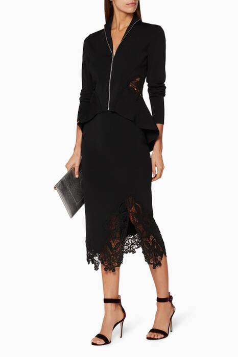 Black Lace-Appliqué Knitted Pencil Skirt