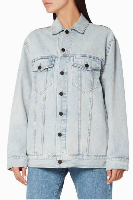 Blue Daze Oversized Bleached Denim Jacket