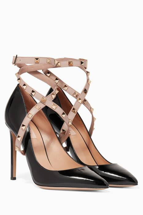 Black Patent Wrap Around Pumps