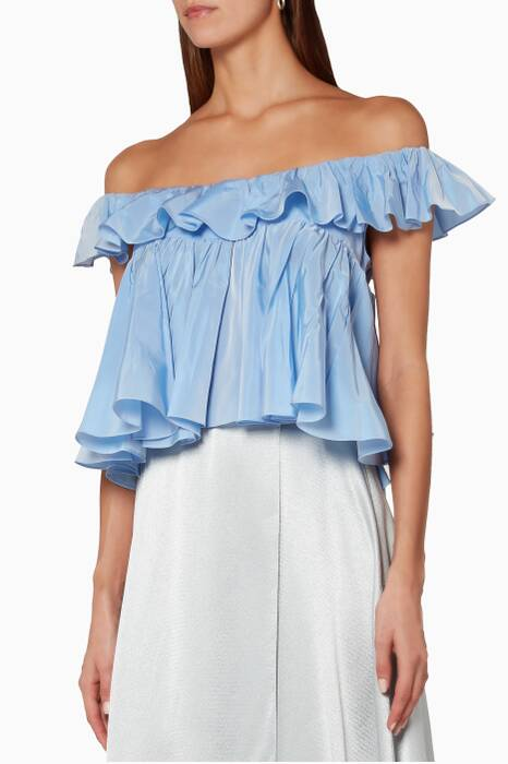 Blue Striped Ruffled Sleeveless Top