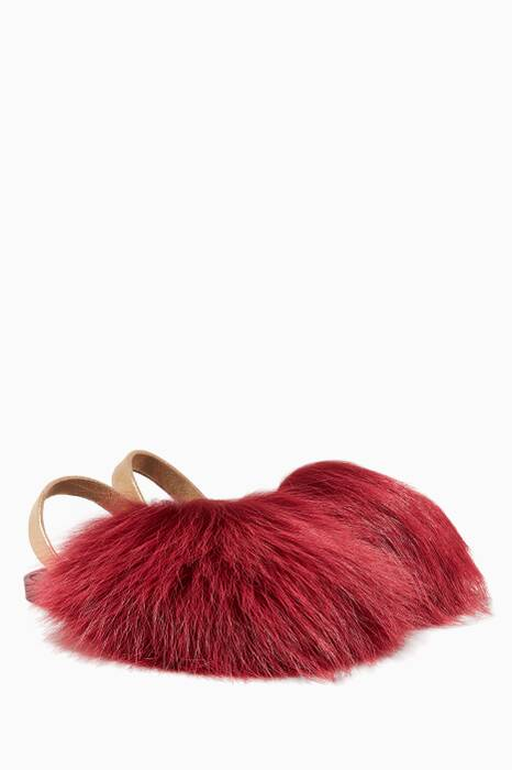 Dark-Red Raccoon-Fur Sandals