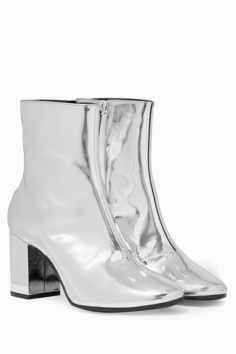 Metallic-Silver Ville Ankle Boots