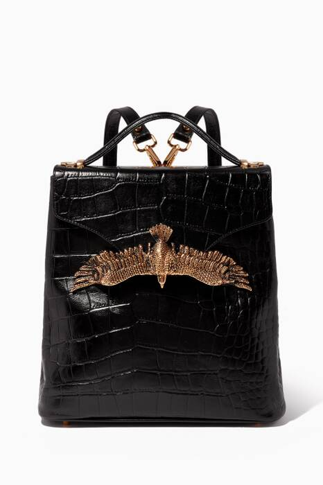 Black Croc-Embossed Leather Backpack