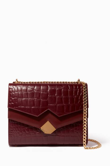 Maroon Chou Croc-Embossed Leather Shoulder Bag