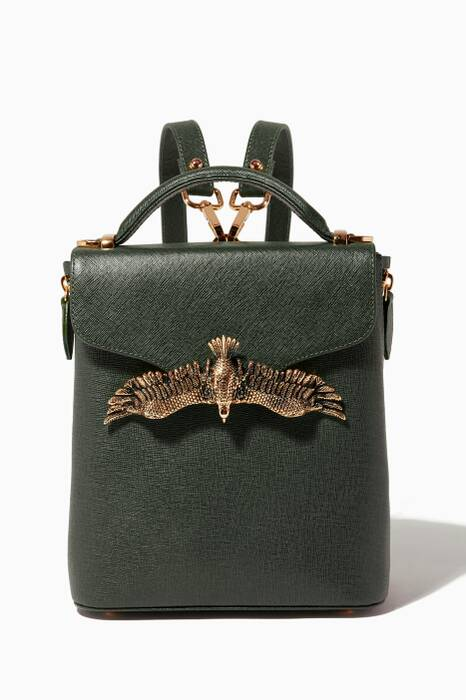 Olive-Green Mini Croc-Embossed Leather Backpack